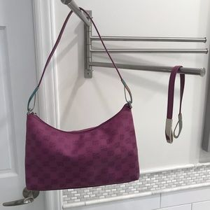 DKNY Purple Purse with extra shorter strap